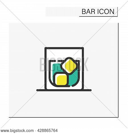 Whiskey Glass Color Icon. Alcohol Stemware. Party Drink With Ice. Restaurant, Pub, Bar Menu. Scotch,