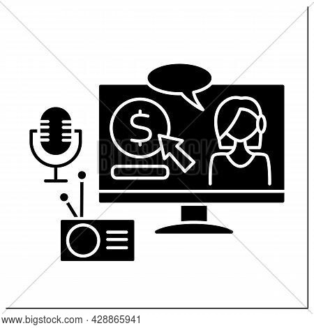 Radio And Podcasts Glyph Icon. Donations For Interesting Podcasts And Quality Content. Virtual Tips