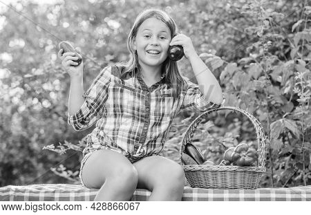 Healthy Lifestyle. Eat Healthy. Kid Gathering Vegetables Nature Background. Healthy Homegrown Food C