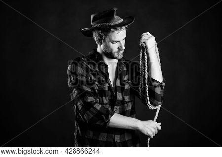 Western Cinema. Western Cowboy Portrait. Wild West Retro Cowboy. Vintage Style Man. Wild West Rodeo.