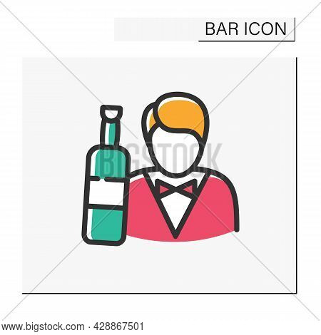 Barman Color Icon. Barista, Waiter, Sommelier. Restaurant, Night Club, Bar Worker. Cocktail Party An
