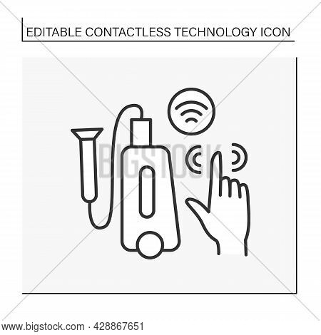 Modern Technology Line Icon. Touchless Portable Small Vacuum Cleaner With Powerful Suction To Deep C