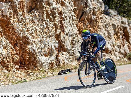 Col Du Serre De Tourre,france - July 15,2016: The Colombian Cyclist Winner Andrew Of Movistar Team R