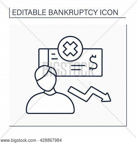 Bankrupt Line Icon.debtor Whose Property Is Subject To Voluntary, Involuntary Administration. Person