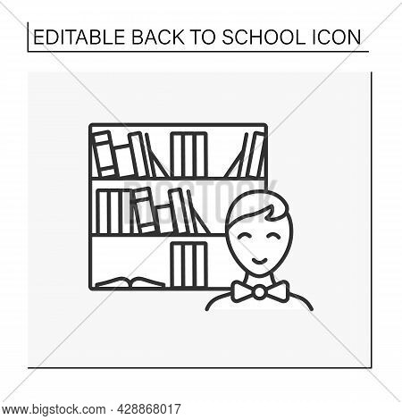 Library Line Icon. Schoolboy Studying At School Library. Return To School. Education Concept. Isolat