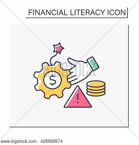 Debt Management Color Icon. Debt Controlling. Financial Planning And Budgeting.financial Literacy Co