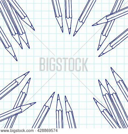 Hand Drawn Vector Doodle Pencils Blank Frame. Art And Drawing Blue Crayon Stationary Border Over Che