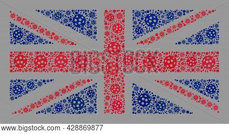 Mosaic Great Britain Flag Designed Of Covid-2019 Elements. Great Britain Flag Collage Is Constructed