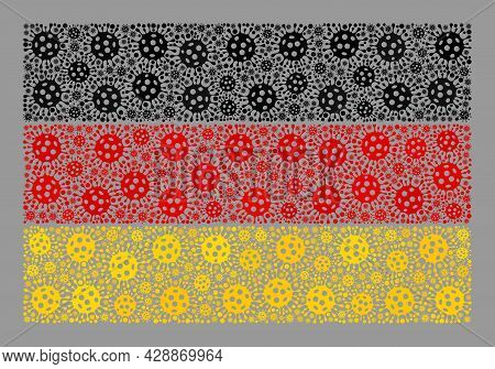 Mosaic Germany Flag Constructed With Covid-2019 Items. Germany Flag Collage Is Formed With Random Co