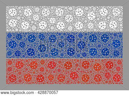 Mosaic Russia Flag Constructed With Bacilla Items. Russia Flag Collage Is Made With Scattered Viral