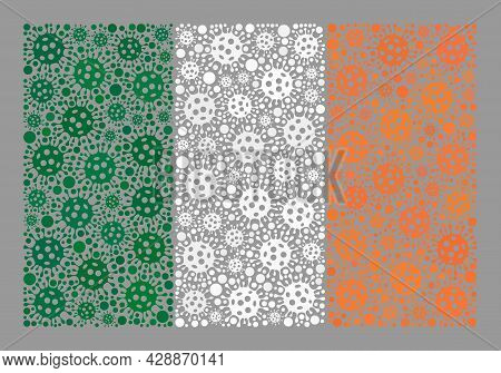 Mosaic Ireland Flag Designed With Bacilla Elements. Ireland Flag Collage Is Constructed With Randomi