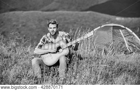 Musician Looking For Inspiration. Dreamy Wanderer. Pleasant Time Alone. Peaceful Mood. Guy With Guit
