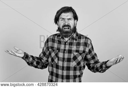 Confused Bearded Man Threw Up His Hands In Despair, Human Emotions