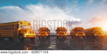 Yellow school bus fleet on parking. Back to school. 3D render