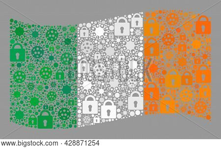 Mosaic Covid Lockdown Waving Ireland Flag Designed With Locks And Viral Elements. Vector Collage Win