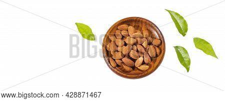 Prunus Dulcis - Organic Peeled Almonds In The Wooden Bowl