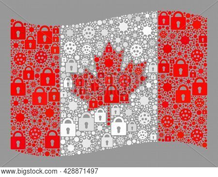 Mosaic Covid Lockdown Waving Canada Flag Created With Locks And Bacterium Items. Vector Collage Wavi