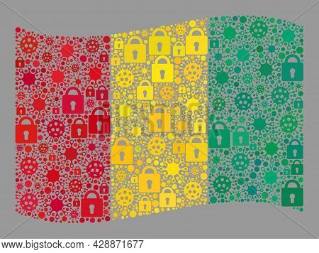 Mosaic Covid Lockdown Waving Guinea Flag Created With Locks And Covid Items. Vector Collage Waving G