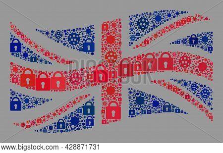Mosaic Coronavirus Lockdown Waving Great Britain Flag Constructed With Locks And Virus Items. Vector
