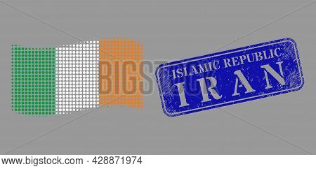 Pixelated Halftone Waving Ireland Flag Icon, And Islamic Republic I R A N Corroded Rectangle Seal Im
