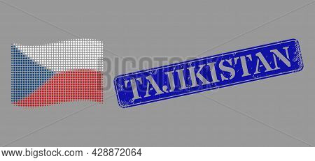 Dotted Halftone Waving Czech Flag Icon, And Tajikistan Dirty Rectangular Seal. Vector Halftone Conce