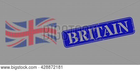 Pixel Halftone Waving Great Britain Flag Icon, And Britain Textured Rectangular Seal Print. Vector H