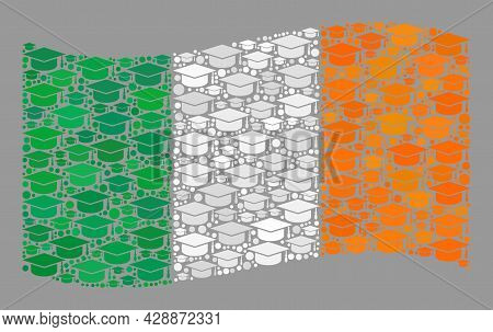 Mosaic Waving Ireland Flag Designed With Graduation Cap Items. Graduation Vector Mosaic Waving Irela