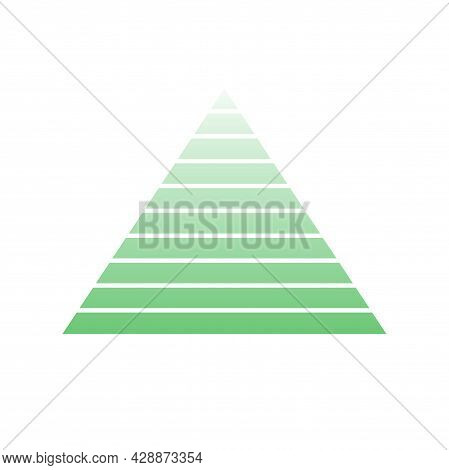 Pyramid Scheme 10 Ten Steps. Vector Hierarchy Level Chart Graph, Green Diagram Structure. Triangle I