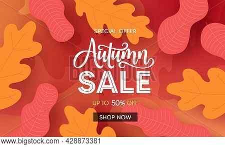 Fall Season Sale Vector Banner Background. Autumn Seasonal Sale Text With Colorful Maple And Oak Lea