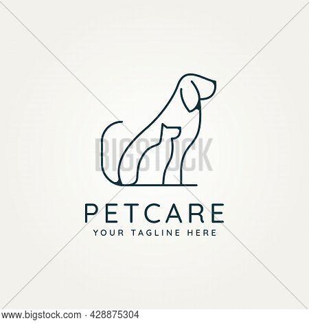 Pet Care Minimalist Line Art Logo Icon Template Vector Illustration Design. Simple Modern Pet Shop,