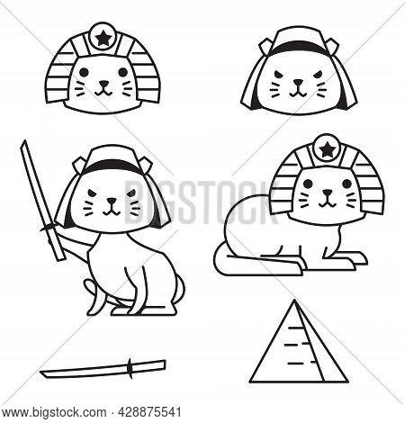 Cute Cat Japan Egypt Outline Monoline Line Doodle Style Illustration
