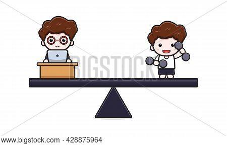 Cute Businessman Work Life Balance Business And Lifestyle Cartoon Icon Illustration. Design Isolated