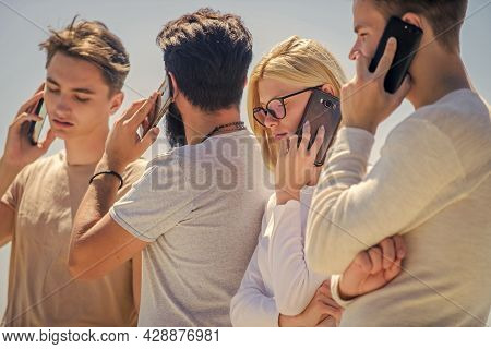 Gadgets For Communications. Mobile Phone Conversation. Friends Chatting Sky Background. Mobile Commu