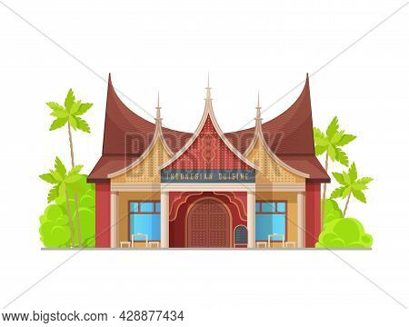 Indonesian Cuisine Restaurant Building, Vector Typical Asian Architecture Facade. National Food Cafe