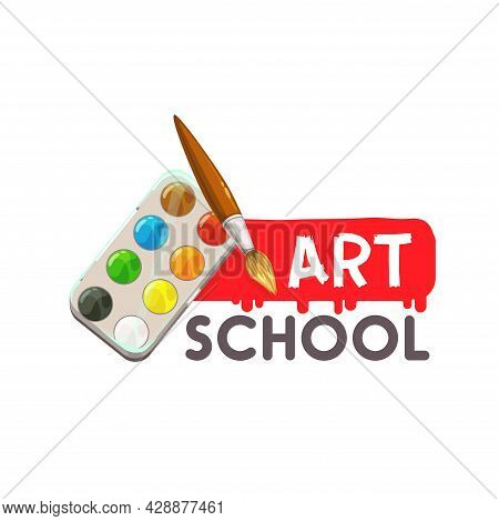 Arts School Icon, Painting And Artist Drawing Design, Vector Education Emblem. Watercolor Palette An