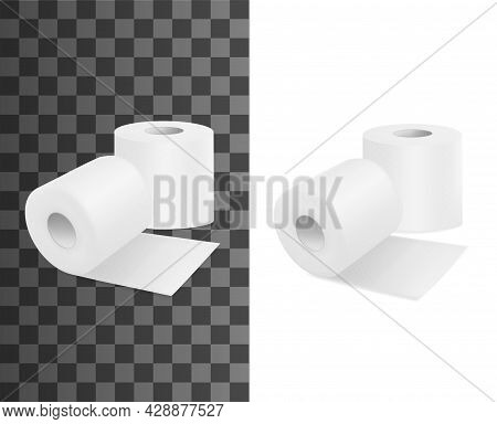 Toilet Roll, Realistic Toilet Paper, Vector 3d Isolated Mockups. Toilet Paper Rolls, Hygiene Wipe An