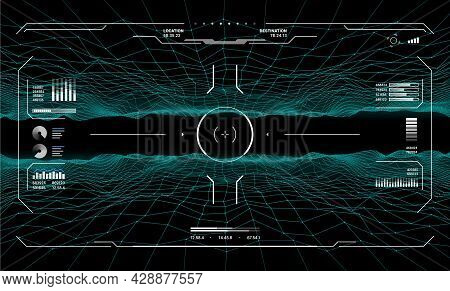 Hud Target Aim Controls On Futuristic Screen Interface, Vector Dashboard Background. Hud Target Aims