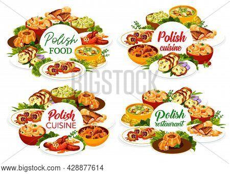 Polish Cuisine Restaurant Menu Cover Template. Bigos, Faramushka Soup And Sausages, Meatloaf Ring, K