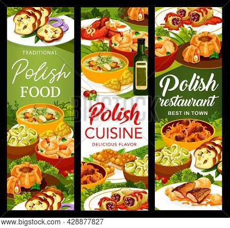 Polish Cuisine Meals Banners. Cabbage Rolls In Tomato Sauce, Sausages And Meat Bread, Bigos, Kalduny