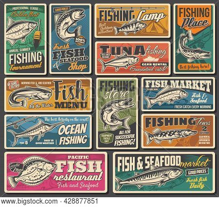 Fishing, Fish And Seafood Market Posters, Vector Retro. Fisher Camp And Tournament, Rods, Tackles An