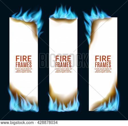 Burning Paper Banners With Natural Gas Fire Flames, Vector. Burning Paper Pages In Blue Flames Of Na