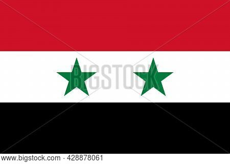 National Flag Of Syria Original Size And Colors Vector Illustration, Government Of The Syrian Arab R