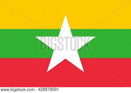 National Flag Of Myanmar Original Size And Colors Vector Illustration, State Of Burma Flag, Myanmar