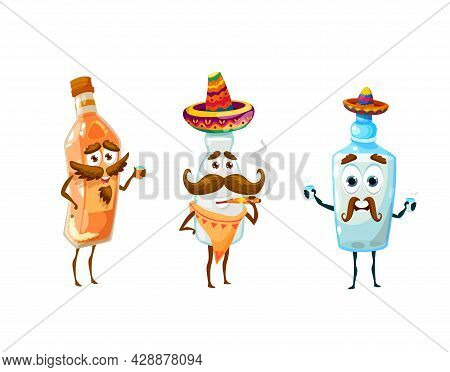 Cartoon Mexican Pulque, Mezcal And Tequila Characters, Vector Bottles Icons. Viva Mexico Or Mexican