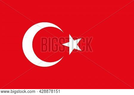 National Flag Of Turkey Original Size And Colors Vector Illustration, Turkish Flags Featuring Star A