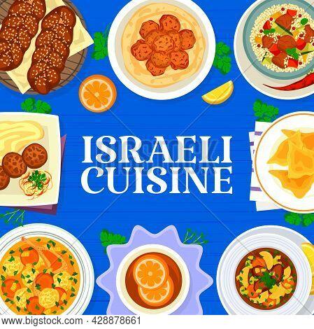 Israeli Cuisine Menu Cover. Jewish Matzo Ball Soup, Chickpea Falafels And Beef Dumplings Kreplach, S