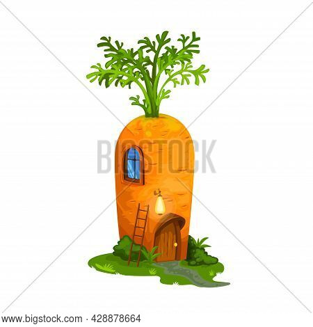Fairy Carrot, Gnome House Or Dwelling For Dwarfs And Elf Home Hut, Cartoon Vector. Fairy Tale Carrot