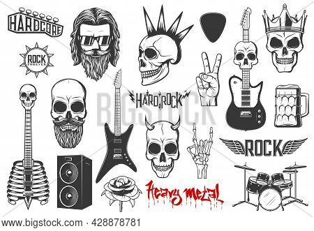 Hard Rock Music Vector Icons Skull With Mohawk And Horns, Guitars, Heavy Metal Drums Kit And Dynamic