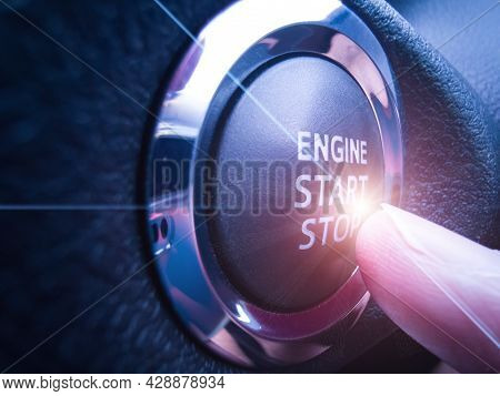 New Car Starting System, Black, Stainless Steel Outer Frame Keypad With Finger. There Is Lens Flare