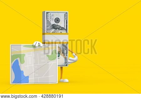Stack Of One Hundred Dollar Bills Person Character Mascot With Abstract City Plan Map On A Yellow Ba